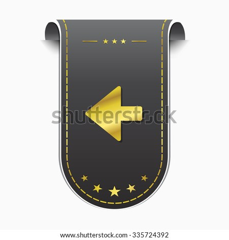 Left Arrow golden Vector Icon Design