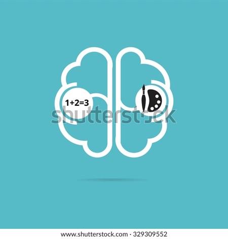 Left Brain Right Brain icon - stock vector