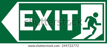 Left Side Emergency Exit Sign Vector - stock vector