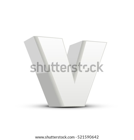 left tilt plaster white letter V, 3D illustration graphic isolated on white background