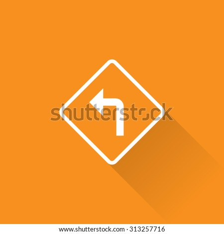 Left Turn Sign - stock vector