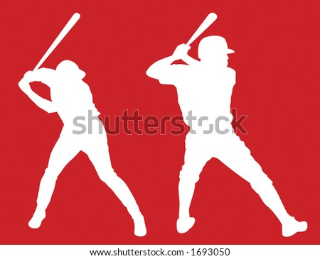 Lefty and righty vector baseball batters ready to hit a home run. - stock vector