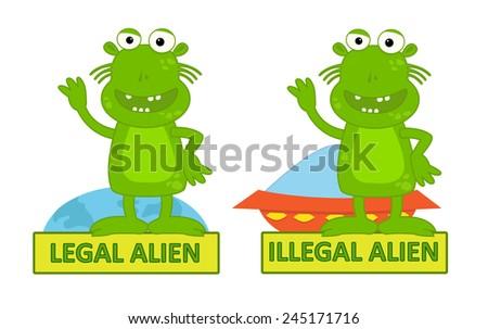Legal Illegal Alien - Humorous cartoon of legal alien and illegal alien, Eps10 - stock vector