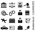 Legal, law and justice icon set - stock photo