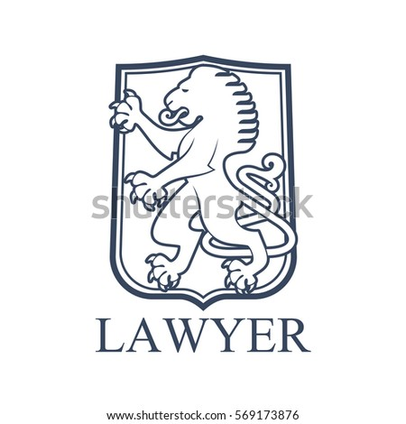vector emblem for lawyer or advocate juridical badge with heraldic lion