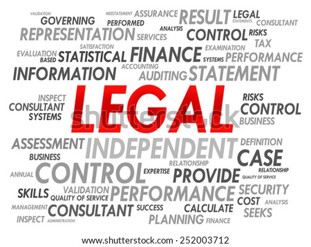 LEGAL word cloud, business concept - stock vector