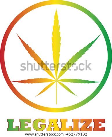 Legalize Cannabis Icon Button Color Vector Illustration  - stock vector