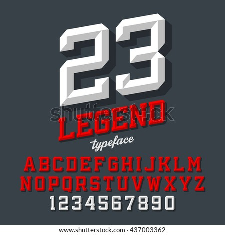 Legend typeface. Beveled sport style retro font. Letters and numbers, vector illustration.  - stock vector