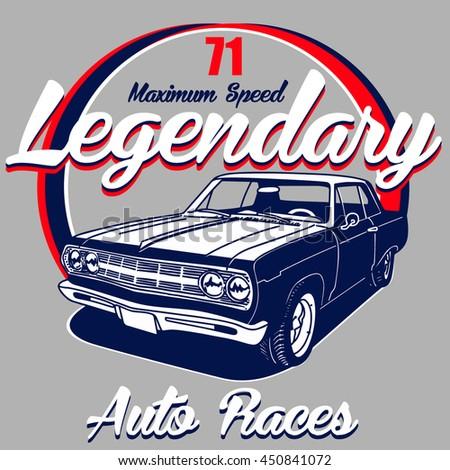 American Drag Racing Emblem Muscle Car Stock Vector 473676454