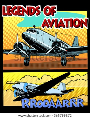 Legends of aviation abstract retro airplane - stock vector