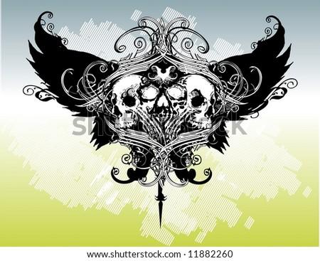 Legion of skulls vector illustration - stock vector