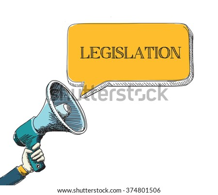 LEGISLATION word in speech bubble with sketch drawing style - stock vector
