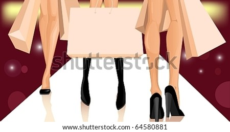 legs of three women with shopping bags - stock vector