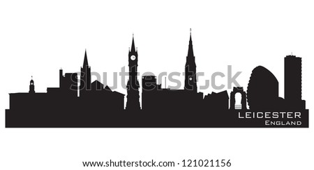 Leicester, England skyline. Detailed silhouette. Vector illustration