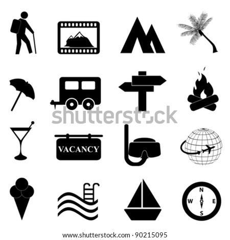 Leisure and recreation icon set on white background - stock vector