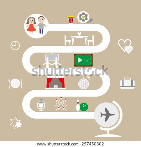 Leisure. Infographics. Dating a guy and a girl. - stock vector