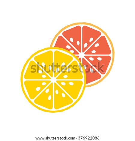Lemon and grapefruit flat icons. Slices of cartoon citruses, vector illustration