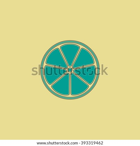 lemon Flat line icon on yellow background. Vector pictogram with stroke