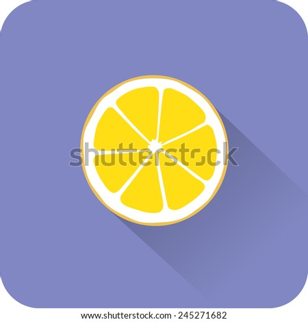 Lemon icon. Flat design style modern vector illustration. Isolated on stylish color background. Flat long shadow icon. Elements in flat design. - stock vector