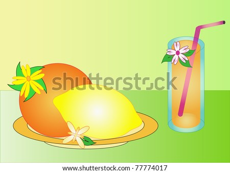 lemon, orange on the plate and cocktail