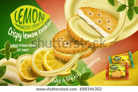 Lemon sandwich cookies ad, crispy cookies and sliced lemon and fillings flying in the air, isolated on geometric background in 3d illustration