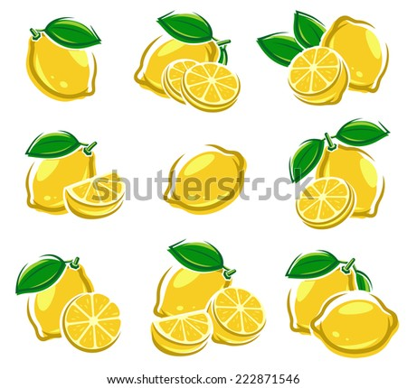 Lemon set. Vector - stock vector