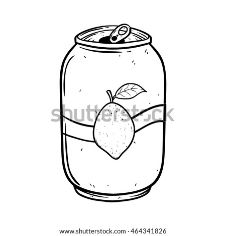 Lemon soft drink can with hand drawing style on white background