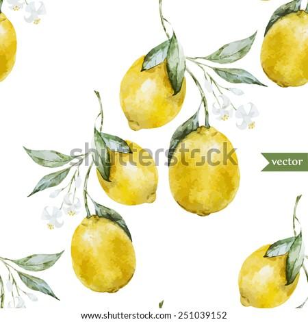 lemon, watercolor, pattern, background, fruit, wallpaper - stock vector