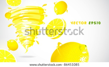lemon with juicy twister - stock vector