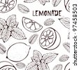 Lemonade pattern with hand-drawn lemons and mint - stock photo