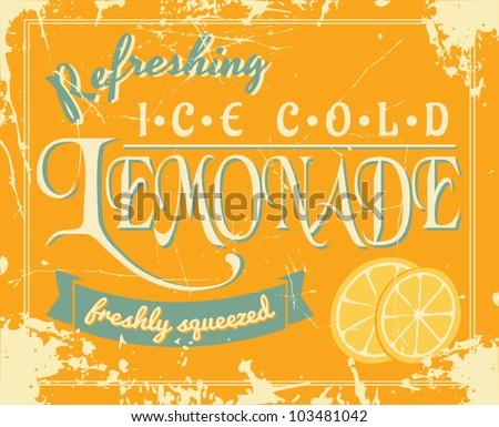 Lemonade poster in vintage style. - stock vector