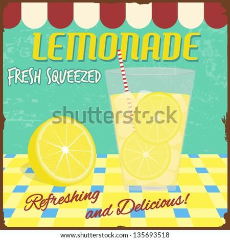 Lemonade Poster Vintage Style Vector Illustration Stock Vector ...