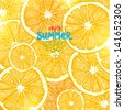 Lemons and oranges with sun shine and juice drops for bright summer background design. Vector illustration. - stock vector