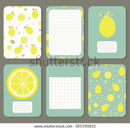 Lemons. Cute pages for notes with cute lemons. Notebooks,decals, diary, cards, school accessories. Cute design with seamless patterns with cute  fruits.  - stock vector