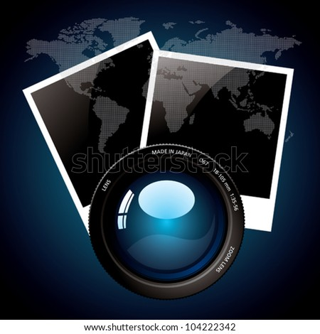 Lens and world map. - stock vector