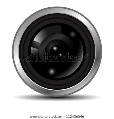 lens camera - stock vector