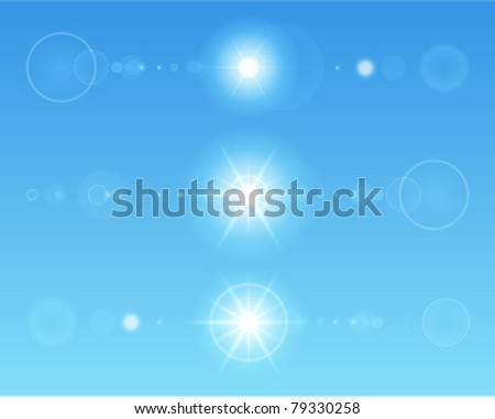 Lens flare set with transparent easy replace background and edit colors. Vector design elements Eps 10. - stock vector