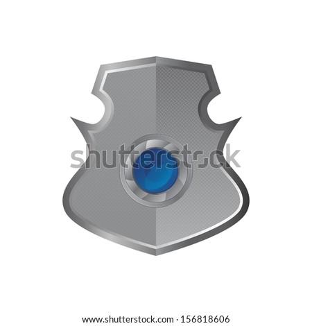 lens inside steel theme shield - stock vector