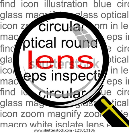 LENS. Magnifying glass over seamless background with different association terms. Vector illustration. Image ID: 69337732 - stock vector