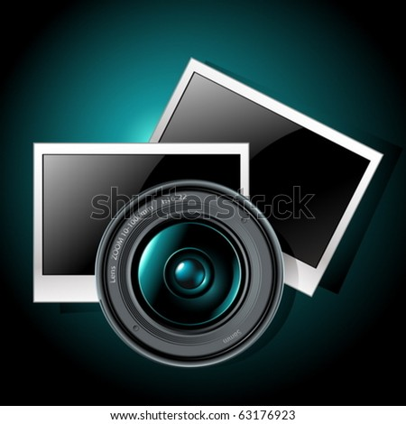 lens with photo frames - stock vector