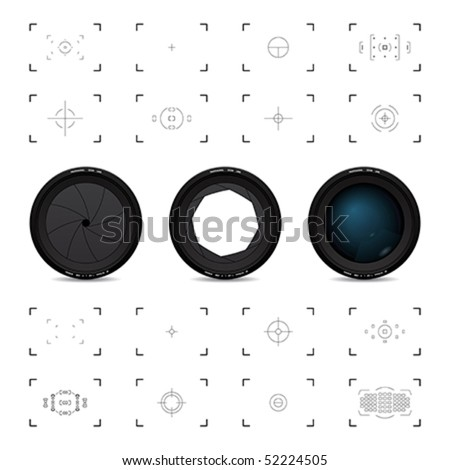 Lenses and viewfinders - stock vector