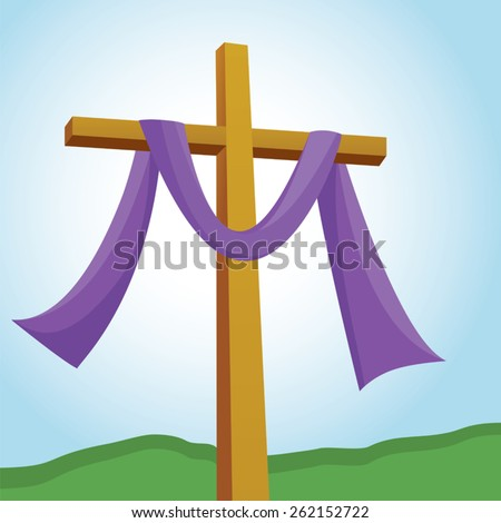 Lenten cross. Lenten cross with blue sky background. - stock vector