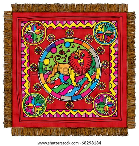 Leo horoscope sign carpet - stock vector