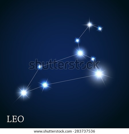 Leo Zodiac Sign of the Beautiful Bright Stars Vector Illustration EPS10 - stock vector