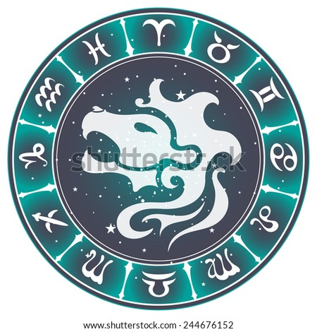 Leo zodiac sign , vector illustration