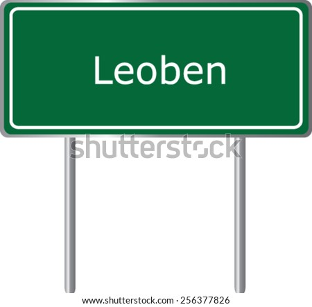Leoben, Austria, road sign green vector illustration, road table - stock vector