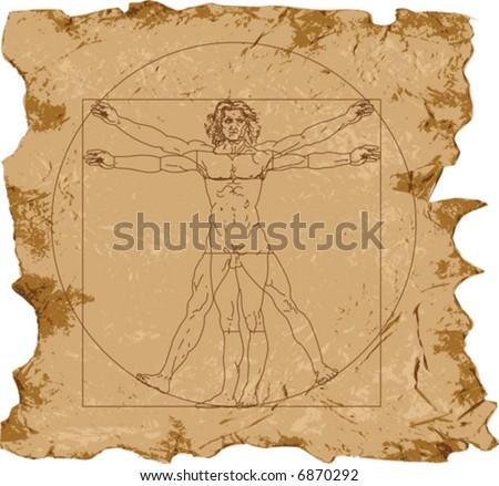 Leonardo's Vitruvian Man (vector); grunge background - stock vector