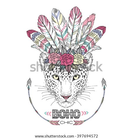 leopard bohemian chic, summer art print, animal illustration - stock vector