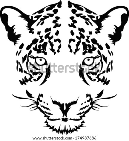 Leopard face tattoo ,Vector  - stock vector