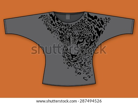 Leopard print themed, fashion woman bat sleeve blouse/t-shirt design. - stock vector